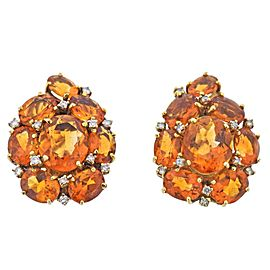 Citrine Diamond Gold Cocktail Earrings