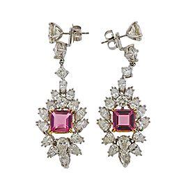 Diamond Platinum Pink Tourmaline Drop Earrings