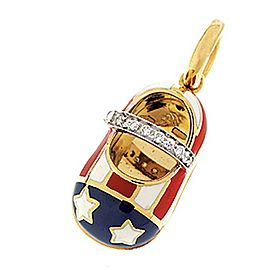 """Aaron Basha 18k Yellow Gold """"America"""" Saddle 0.07ct. Diamond Shoe Charm"""