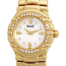 Piaget Tanagra GOA23018 18K Yellow Gold wDiamond Mother-of-Pearl Dial Quartz 21mm Womens Watch