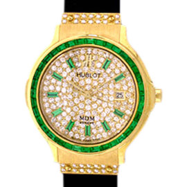"Hublot ""Classic Elegance"" 18K Yellow Gold Emerald & Diamond Pavé Strap Watch"