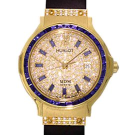 "Hublot ""Classic Elegance"" 18K Yellow Gold Blue Sapphire & Diamond Pavé Strap Watch"