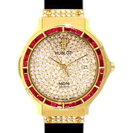 "Hublot ""Classic Elegance"" 18K Yellow Gold Ruby & Diamond Pavé Strap Watch"