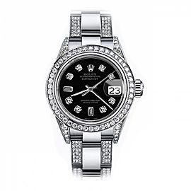 Difference for exchange to Women's Rolex Black Baguette 31mm Datejust S/S Oyster Perpetual Diamond Side + Bezel & Lugs for KATIE BAKER