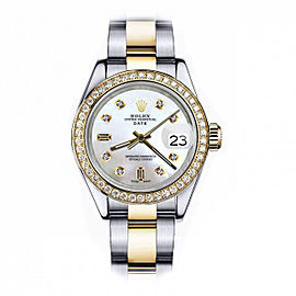 Difference to Pay for Rolex 34mm Date Two Tone White MOP Mother Of Pearl with 8 + 2 Diamond Accent+ Bezel