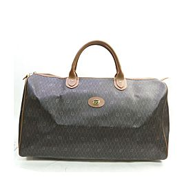 Christian Dior Black Brown Monogram Honeycomb Trotter Boston Duffle Bag 863436