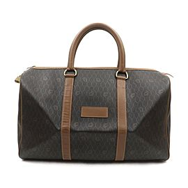 Christian Dior Black x Brown Monogram Honeycomb Boston Duffle Bag 863443