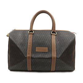 Christian Dior Black Brown Monogram Trotter Honeycomb Boston Duffle Bag 63450