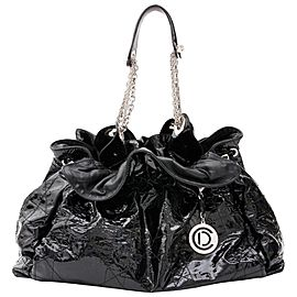 Dior Hobo Cannage Quilted Le Trente Chain 10cdz0116 Black Patent Leather Shoulder Bag
