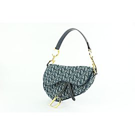 Dior Flap Diorissimo Oblique Monogram Trotter Saddle 20cdz1012 Blue Canvas Shoulder Bag