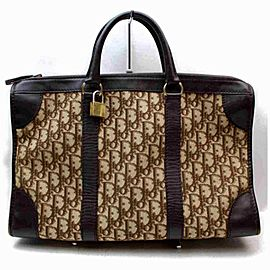 Dior Duffle Monogram Trotter Boston Carry On 872980 Dark Brown Canvas Weekend/Travel Bag
