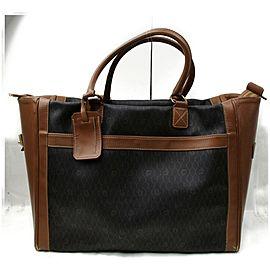 Dior Duffle XL 872262 Black Signature Oblique Monogram Trotter Brown Coated Canvas Weekend/Travel Bag