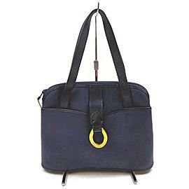 Christian Dior Navy Blue Lady Tote Shoulder Bag 862524
