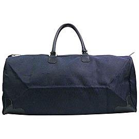 Dior Large Navy Monogram Oblique Signature Trotter Boston Duffel 870606 Black Canvas Weekend/Travel Bag