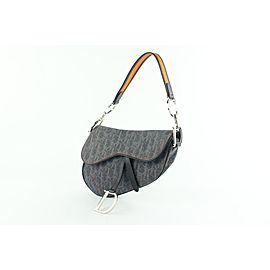 Dior Orange Signature Oblique Monogram Trotter Saddle 12cdz1019 Blue Denim Shoulder Bag