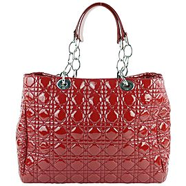 Dior Shopping Tote Quilted Cannage Soft 3de0102 Red Patent Leather Shoulder Bag