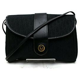 Dior Signature Monogram Trotter Flap 872856 Black Canvas Cross Body Bag