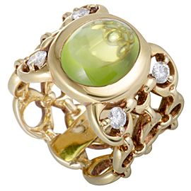 Dior 18K Yellow Gold 0.40ct Diamond and Peridot Cabochon Band Ring Size 5.5
