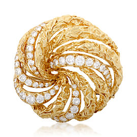 Dior 18K Yellow Gold and 1.45ct Diamond Swirl Brooch