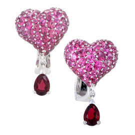 Dior Cupidon 18K White Golld Ruby Pave Heart Earrings