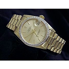 Mid Size Rolex 18K Yellow Gold Datejust President Champagne Diamond 68278