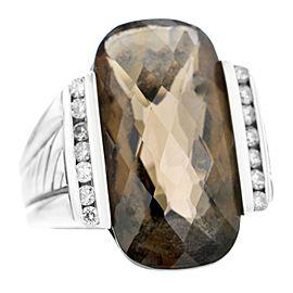 David Yurman E Deco Long Smokey Quartz SS Diamond Accent Ring