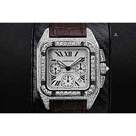Cartier Santos 100 Chronograph Stainless Steel Iced Out Watch W20090X8