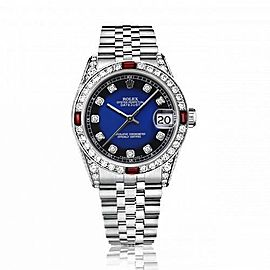 Rolex 31mm Datejust with custom Blue Vignette Diamond Dial+ Rubies on a Bezel+Diamond Lugs 68274