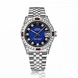 Rolex 31mm Datejust with custom Blue Vignette Diamond Dial+ Rubies on a Bezel+Diamond Lugs 68274