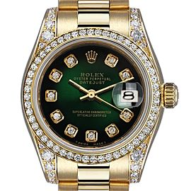 Rolex 26mm Presidential 18kt Gold Green Diamond Dial Bezel and Lugs 6917