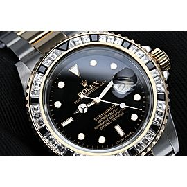 Rolex Submariner Two Tone Watch With Custom Diamond Bezel 16613