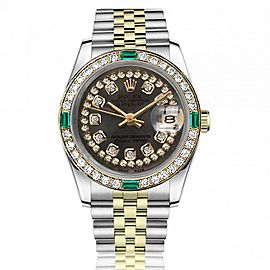 Ladies Rolex 26mm Two Tone Black MOP Mother of Pearl String Diamond Dial Vintage Diamond Bezel with Emeralds 69173