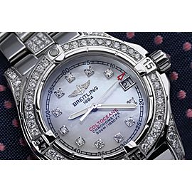 Breitling Colt Oceane A77350 Stainless Steel Watch with Custom Diamond Bracelet/Bezel/Lugs