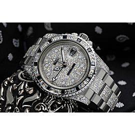 Rolex Gmt-Master II 116710 Custom Diamond Baguette Bezel Pave Dial