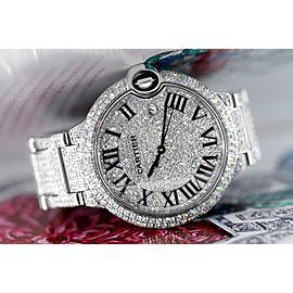 Cartier Ballon Bleu 42mm Stainless Steel Iced Out Watch W69012Z4