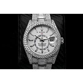 Rolex Sky Dweller White Dial Stainless Steel 326934 Custom Diamond Watch