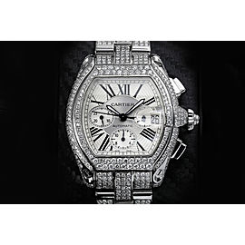 Cartier Roadster Xl W62020x6 Silver Dial Stainless Steel Fully Iced Out Watch