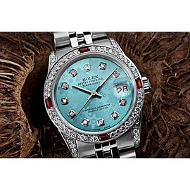 Rolex 31mm Datejust with custom Blue Flower Diamond Dial+ Rubies on a Bezel+Diamond Lugs 68274