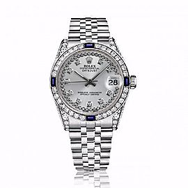 Rolex 31mm Datejust Silver String Diamond Dial Bezel with Sapphires and Diamond Lugs 68274