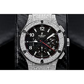 Hublot 301.SX.130.RX Big Bang Custom Diamond Watch Black Dial on Rubber Strap