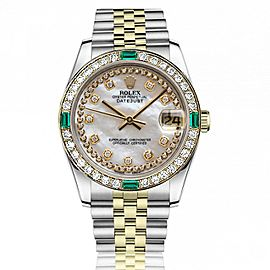 Women's Rolex 31mm Datejust Vintage Diamond Bezel with Emeralds Two Tone White MOP String Dial with Diamond Accent