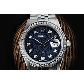 Rolex 36mm Datejust Navy Blue Jubilee with Diamond Numbers & Bezel Automatic Stainless Steel Watch