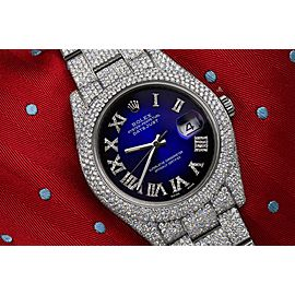 Rolex Mens Datejust II 41mm 116300 Stainless Steel Blue Vignette Roman Diamond Dial Fully Iced Out Watch