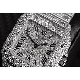 Cartier Santos De Cartier Large Model WSSA0018 Custom Diamond Stainless Steel Watch Pave Black Roman Numeral Dial