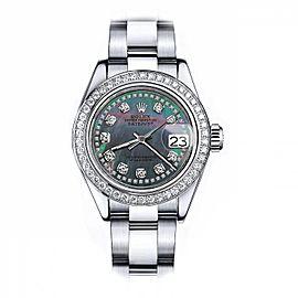 Rolex Black Pearl String 31mm Datejust SS Oyster Bracelet & Custom Diamond Bezel