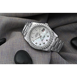 Rolex 36mm Datejust New Style Custom Diamond Bezel, White Mother of Pearl Dial Oyster 116234