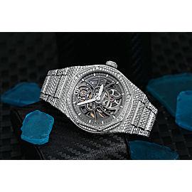 Girard-Perregaux Laureato Custom Full Diamond Stainless Steel Skeleton Watch