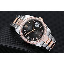 Rolex Datejust 36mm Two Tone Rose Watch Oyster Band Custom Diamond Bezel Black Dial