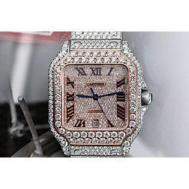 Cartier Santos De Cartier WSSA0018 Custom Diamond Stainless Steel and Rose Gold Watch Pave Black Roman Numeral Dial