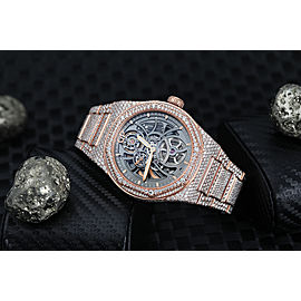 Girard-Perregaux Laureato Custom Full Diamond Rose Gold Skeleton Watch